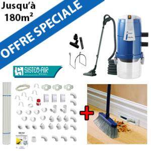Aspirateur central VISUAL 250 + Flexible interrupteur on/off de 9m + 6 ACC + KIT DE BASE + Plinthe aspirante