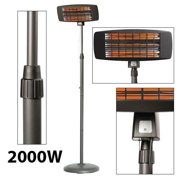 Radiateurs quartz 2000 w noir chauffage ext rieur 2000w for Exterieur 2000
