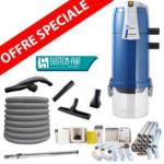 Pack Aspirateur central VISUAL 350 + 16 m de tuyau + Kit flexible retractable retraflex de 12m