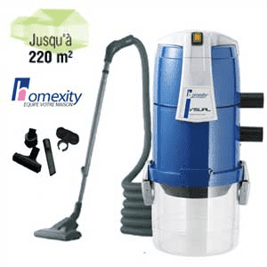 Aspirateur centralise VISUAL250 avec flexible simple de 9m