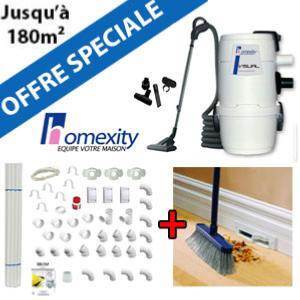 Aspirateur central VISUAL 150 + Flexible inter on/off de 9m + 6 ACC + KIT DE BASE + RAMASSE MIETTES