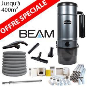 Pack Aspirateur central Beam 398 + 16 m de tuyau + Kit flexible retractable retraflex de 12m