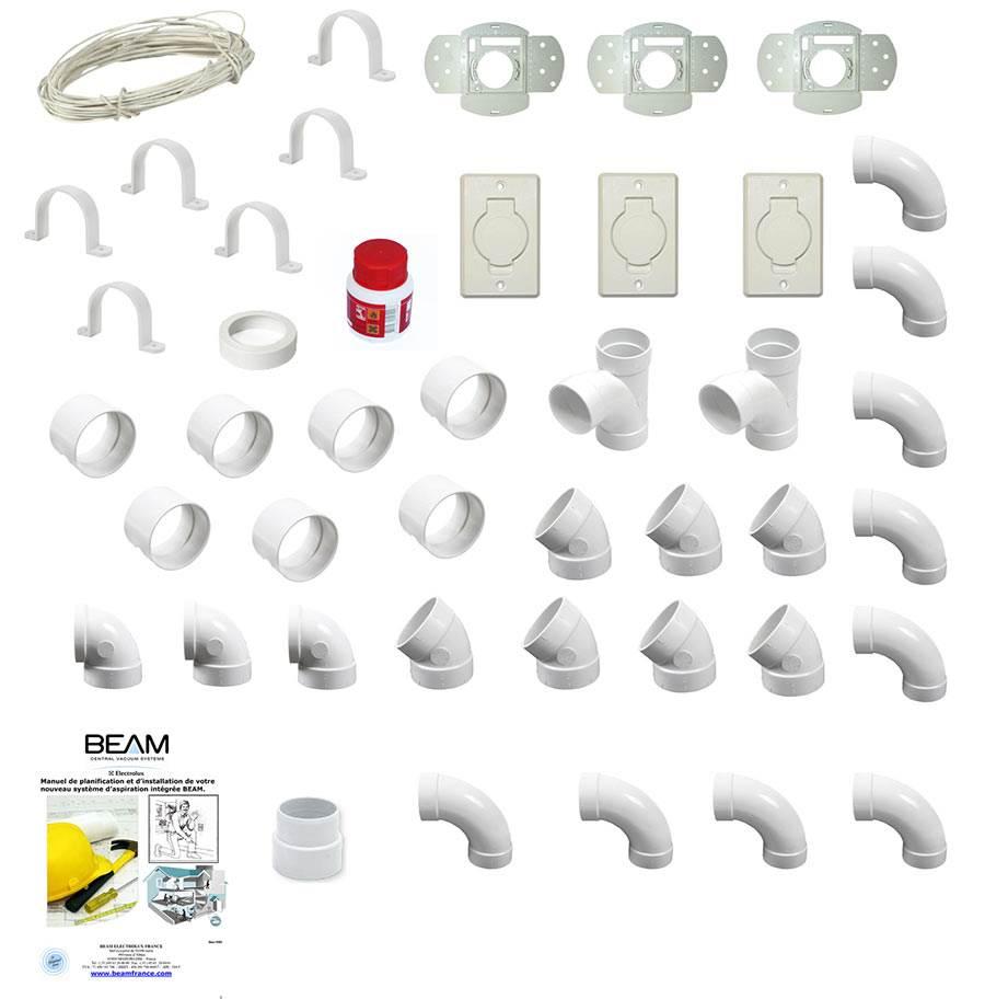 kit 3 prises pour la pose d 39 un r seau de tuyauterie sp ciale aspiration aspiration centralis e. Black Bedroom Furniture Sets. Home Design Ideas